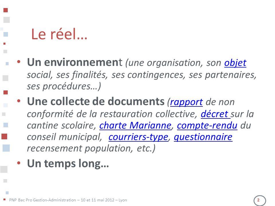 Le réel… Un environnement (une organisation, son objet social, ses finalités, ses contingences, ses partenaires, ses procédures…)
