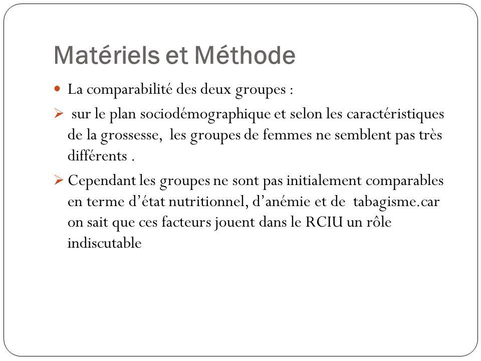 Matériels et Méthode La comparabilité des deux groupes :