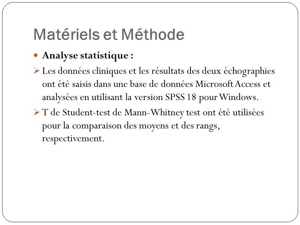 Matériels et Méthode Analyse statistique :