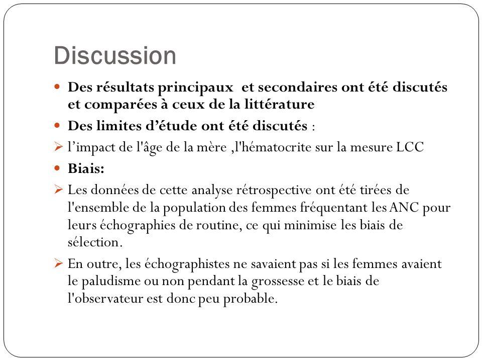 Discussion Des résultats principaux et secondaires ont été discutés et comparées à ceux de la littérature