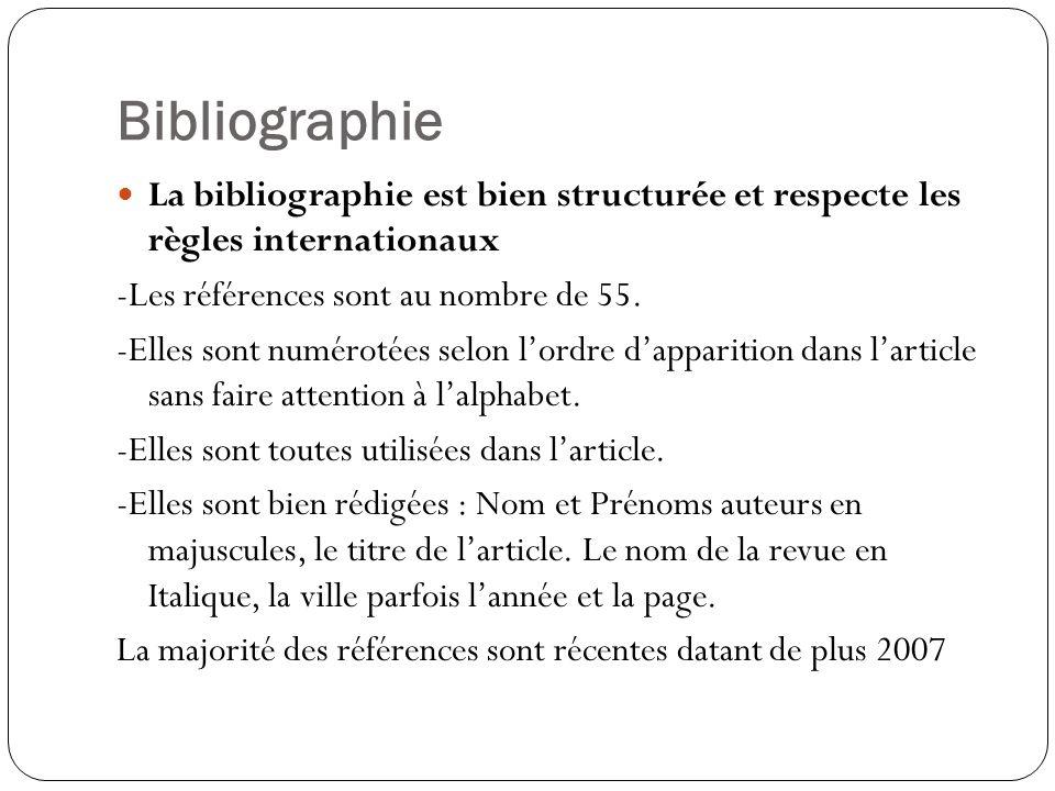 Bibliographie La bibliographie est bien structurée et respecte les règles internationaux. -Les références sont au nombre de 55.