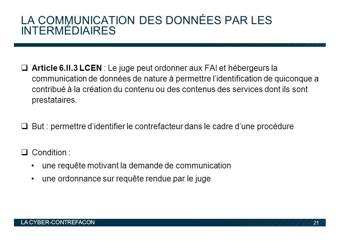 La communication des données par les intermédiaires