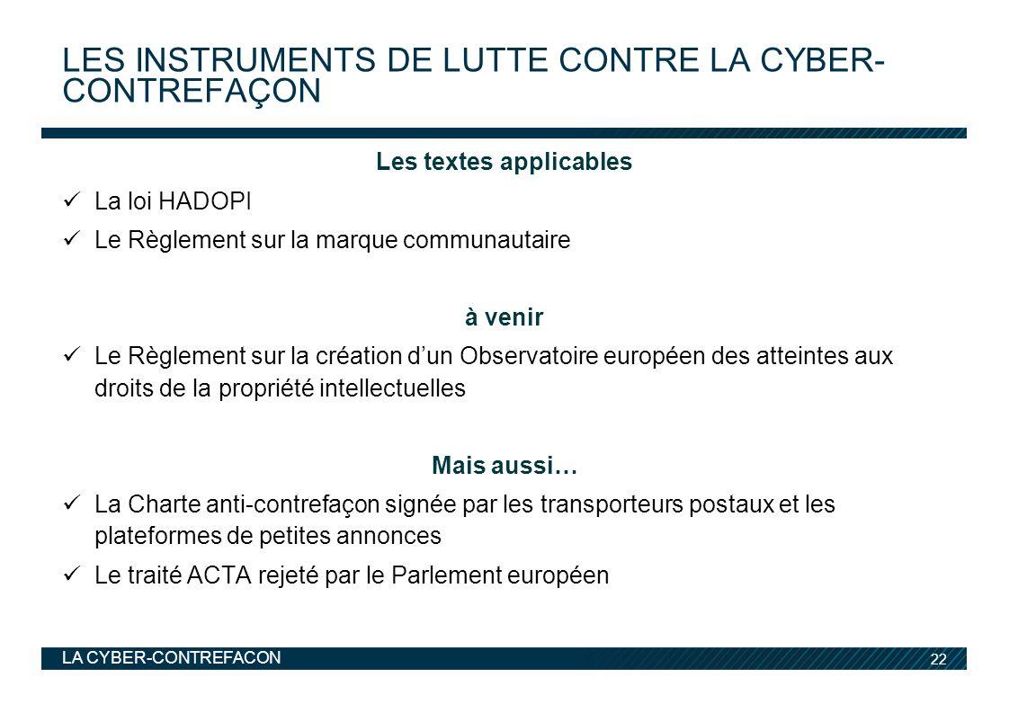 les instruments de lutte contre La cyber-contrefaçon