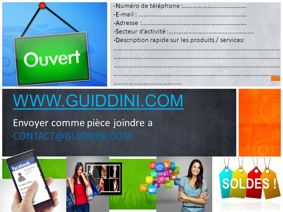 WWW.GUIDDINI.COM Envoyer comme pièce joindre a CONTACT@GUIDDINI.COM