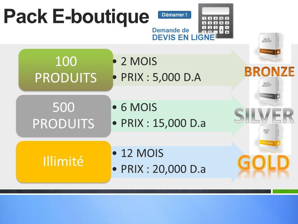 SILVER GOLD Pack E-boutique BRONZE 100 PRODUITS 2 MOIS