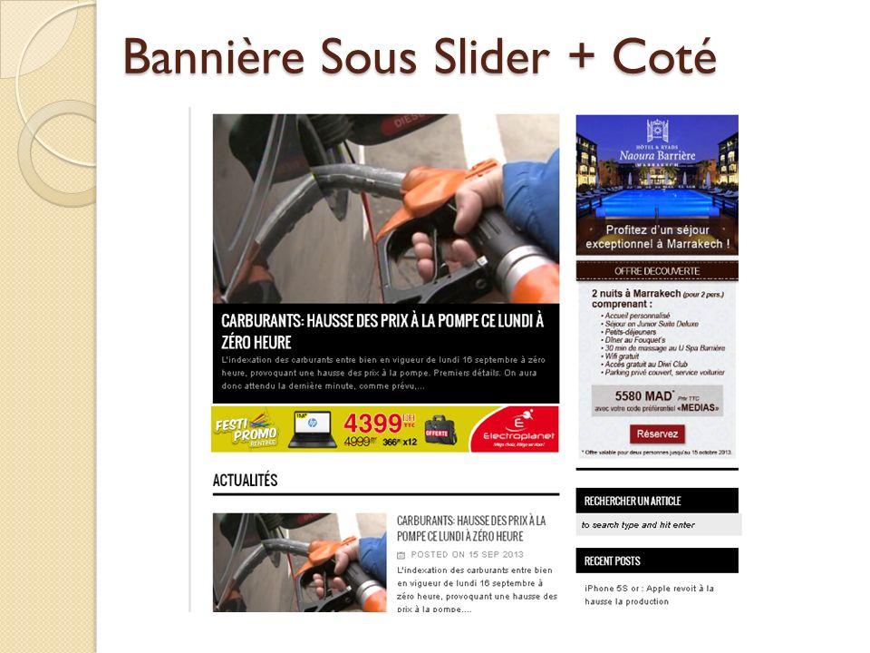 Bannière Sous Slider + Coté
