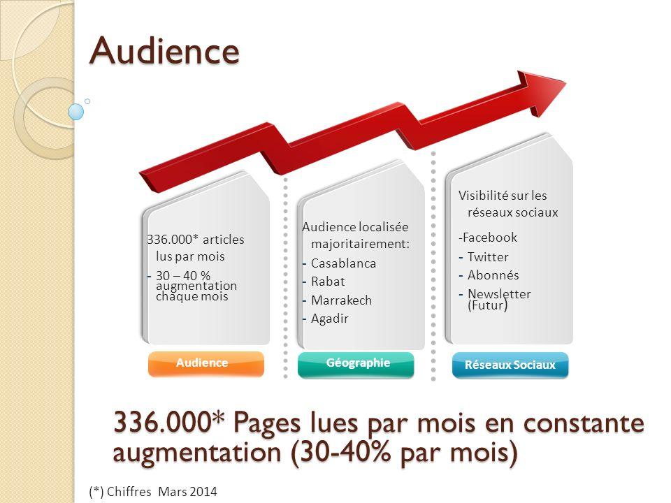 Audience Visibilité sur les réseaux sociaux. -Facebook. Twitter. Abonnés. Newsletter (Futur) Audience localisée majoritairement: