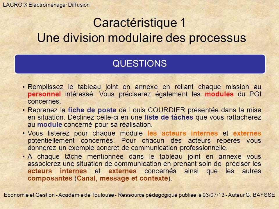 Caractéristique 1 Une division modulaire des processus
