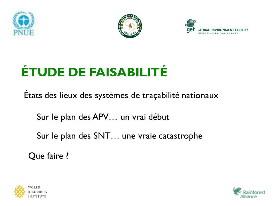 ÉTUDE DE FAISABILITÉ États des lieux des systèmes de traçabilité nationaux. Sur le plan des APV… un vrai début.