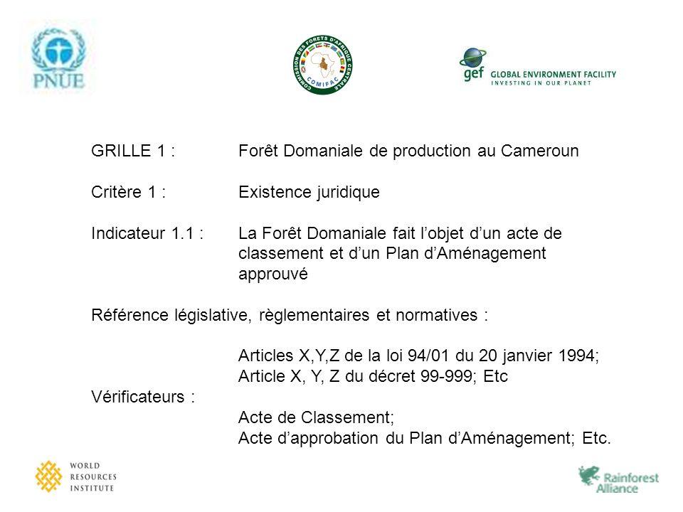 GRILLE 1 : Forêt Domaniale de production au Cameroun