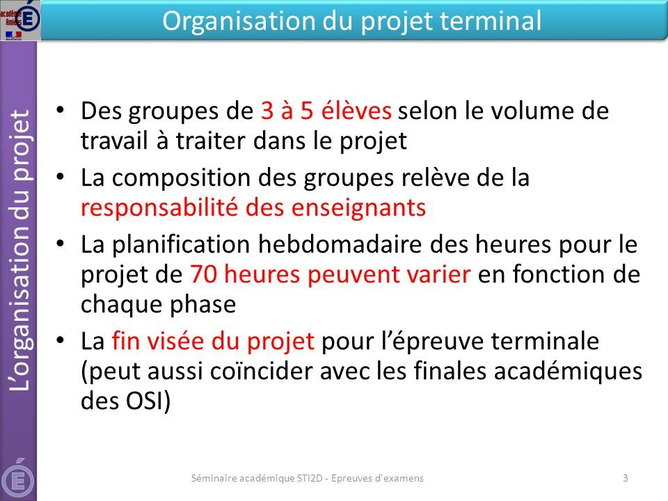 L'organisation du projet Organisation du projet terminal