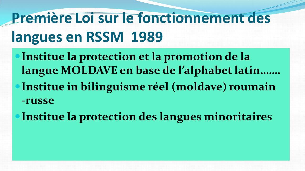 Première Loi sur le fonctionnement des langues en RSSM 1989