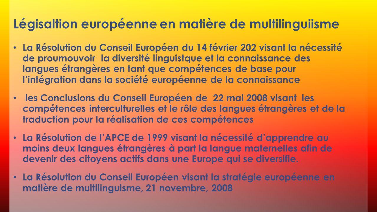 Légisaltion européenne en matière de multilinguiisme
