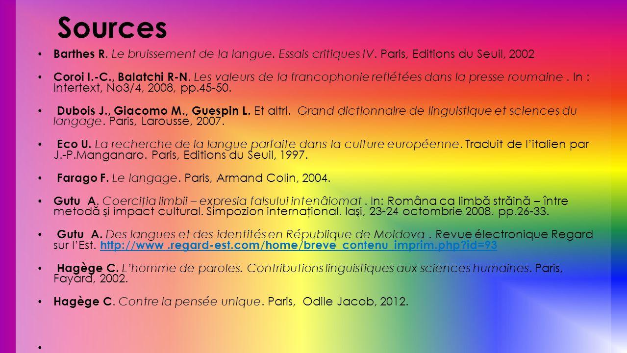 Sources Barthes R. Le bruissement de la langue. Essais critiques IV. Paris, Editions du Seuil, 2002.