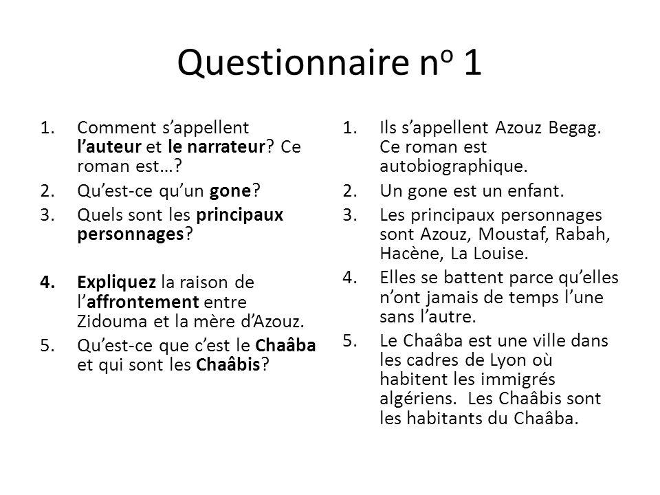 Questionnaire no 1 Comment s'appellent l'auteur et le narrateur Ce roman est… Qu'est-ce qu'un gone