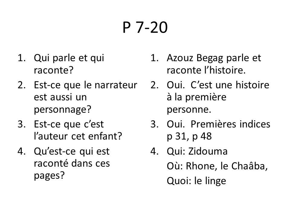 P 7-20 Qui parle et qui raconte