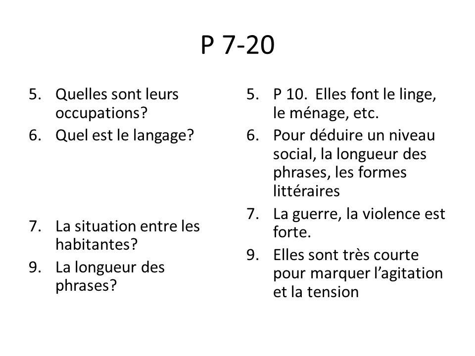 P 7-20 Quelles sont leurs occupations Quel est le langage