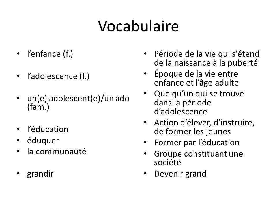 Vocabulaire l'enfance (f.) l'adolescence (f.)