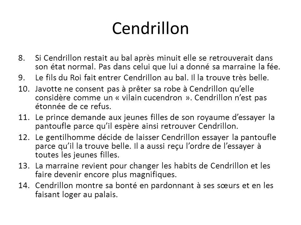 Cendrillon Si Cendrillon restait au bal après minuit elle se retrouverait dans son état normal. Pas dans celui que lui a donné sa marraine la fée.