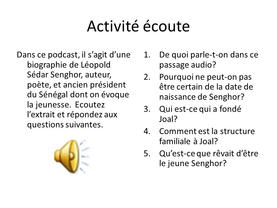 Activité écoute