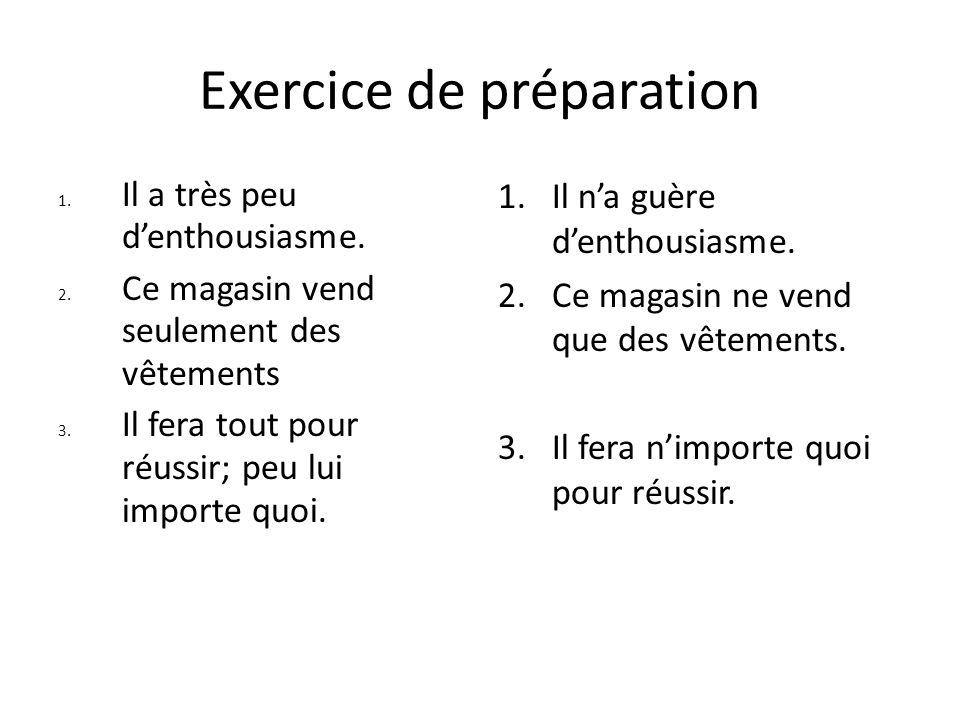 Exercice de préparation