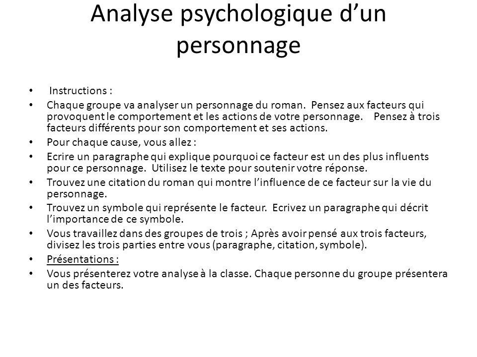Analyse psychologique d'un personnage