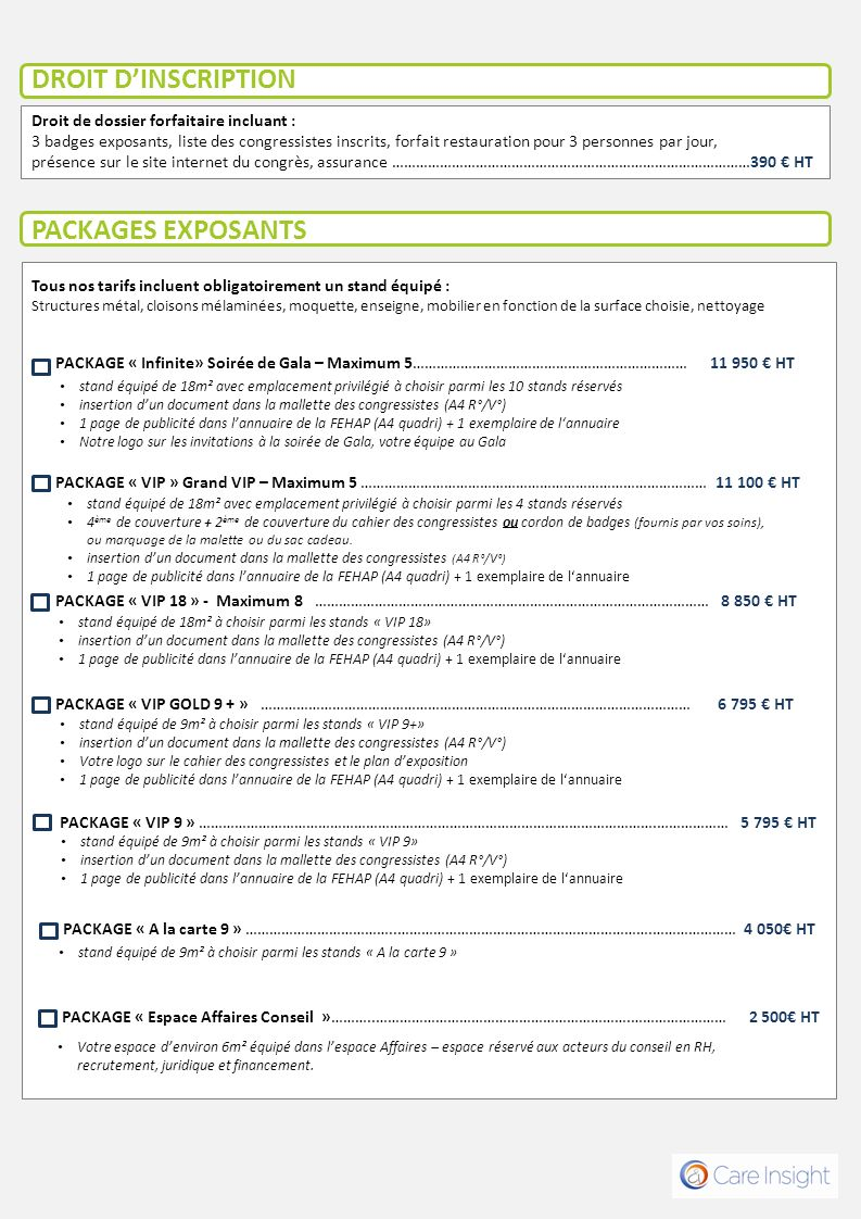 DROIT D'INSCRIPTION PACKAGES EXPOSANTS