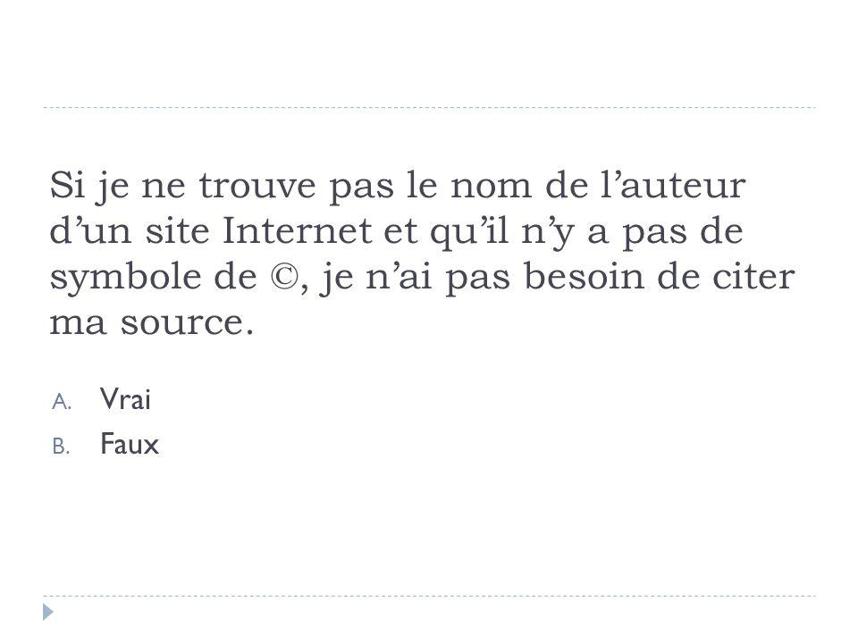 Si je ne trouve pas le nom de l'auteur d'un site Internet et qu'il n'y a pas de symbole de ©, je n'ai pas besoin de citer ma source.