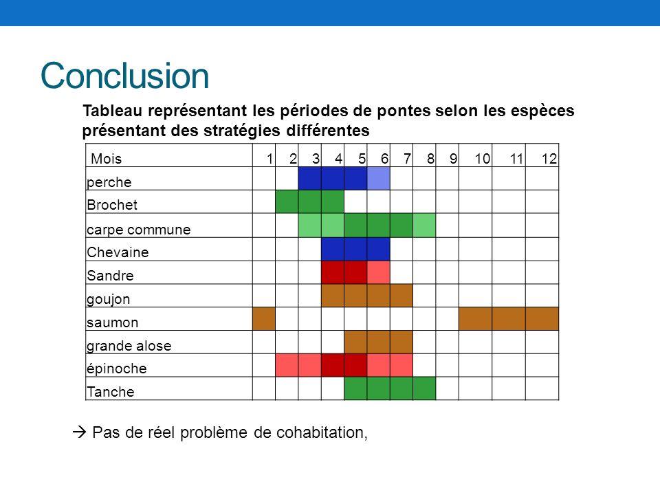 Conclusion Tableau représentant les périodes de pontes selon les espèces présentant des stratégies différentes.