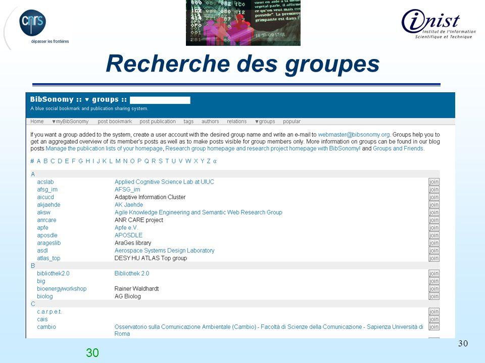 Recherche des groupes Nombre de groupes 30