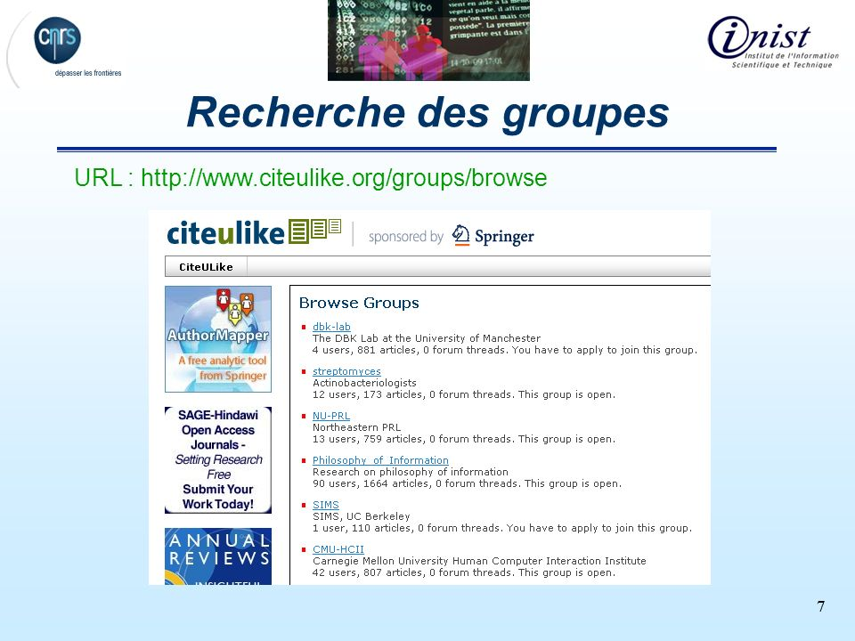 Recherche des groupes URL : http://www.citeulike.org/groups/browse 7