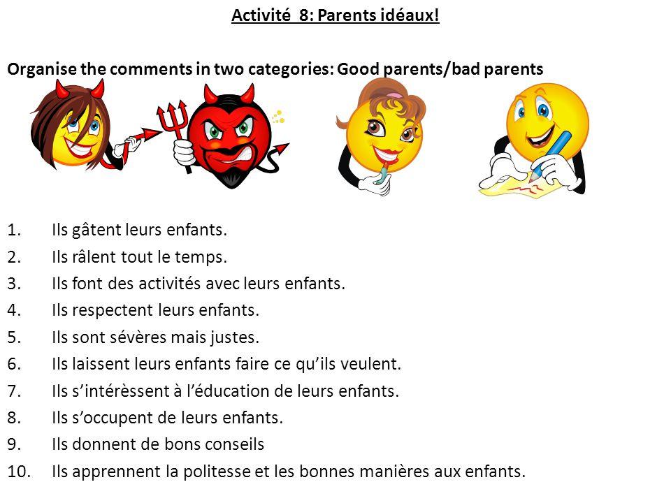 Activité 8: Parents idéaux!