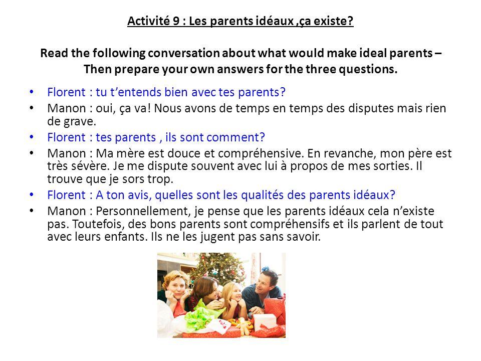 Activité 9 : Les parents idéaux ,ça existe