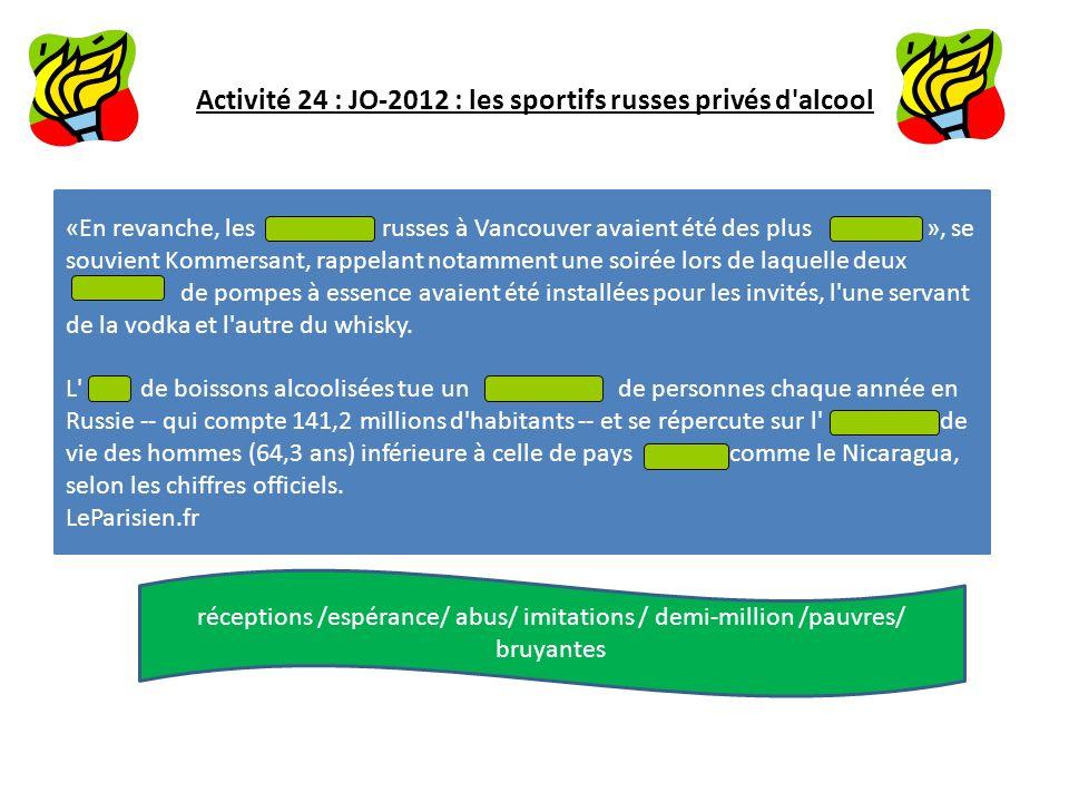 Activité 24 : JO-2012 : les sportifs russes privés d alcool