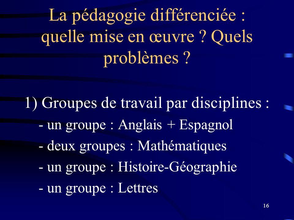 La pédagogie différenciée : quelle mise en œuvre Quels problèmes