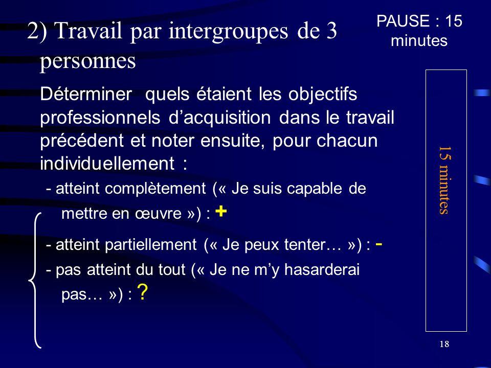 2) Travail par intergroupes de 3 personnes