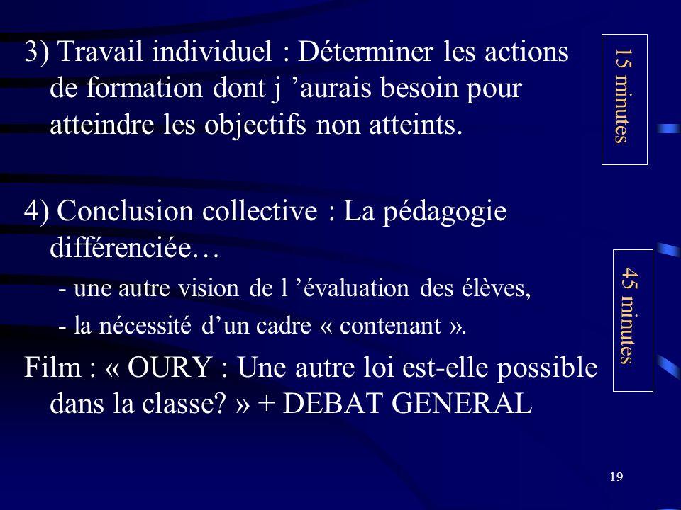 4) Conclusion collective : La pédagogie différenciée…