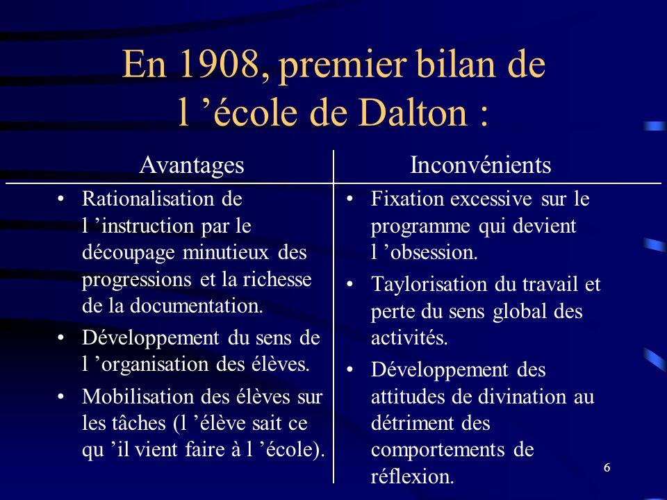 En 1908, premier bilan de l 'école de Dalton :
