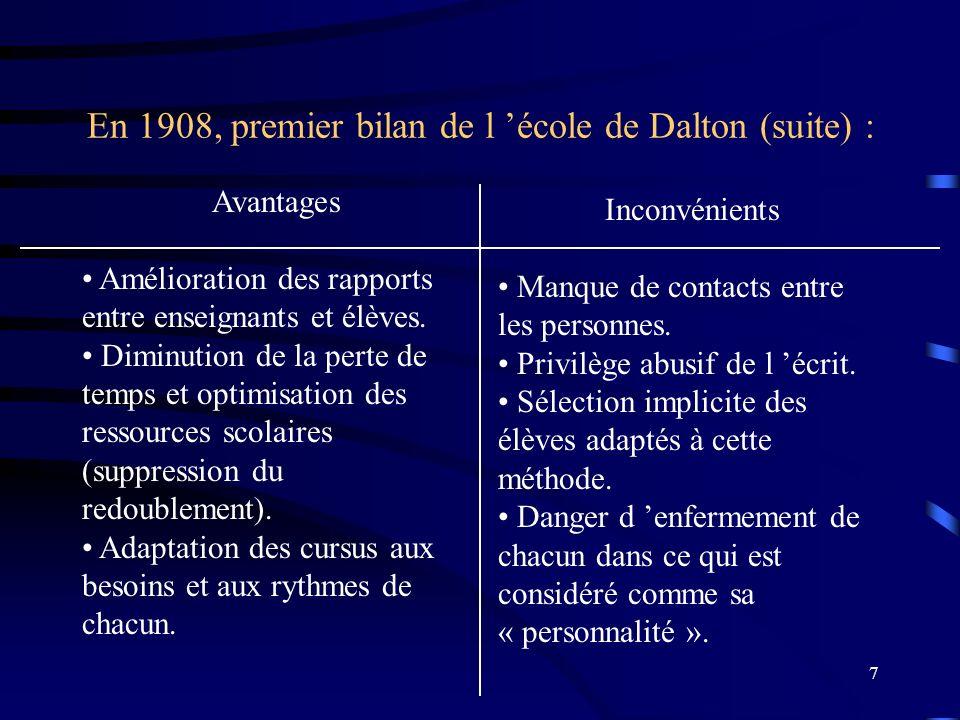 En 1908, premier bilan de l 'école de Dalton (suite) :