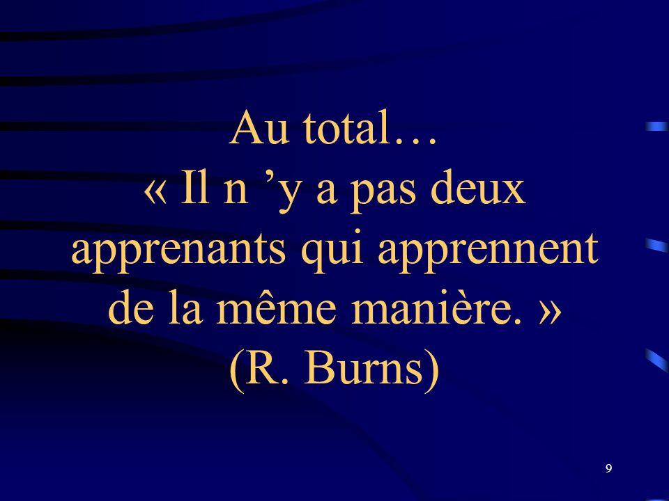 Au total… « Il n 'y a pas deux apprenants qui apprennent de la même manière. » (R. Burns)