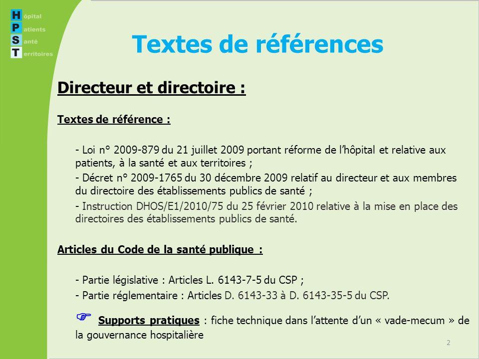 Textes de références Directeur et directoire : Textes de référence :