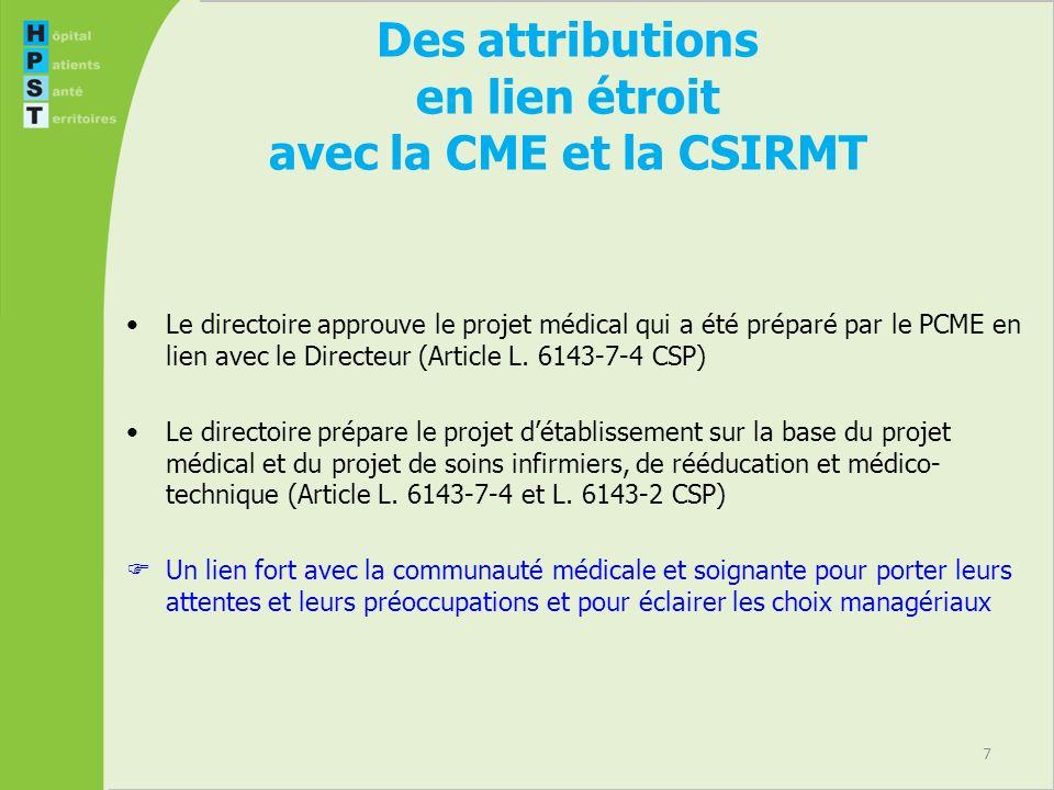 Des attributions en lien étroit avec la CME et la CSIRMT