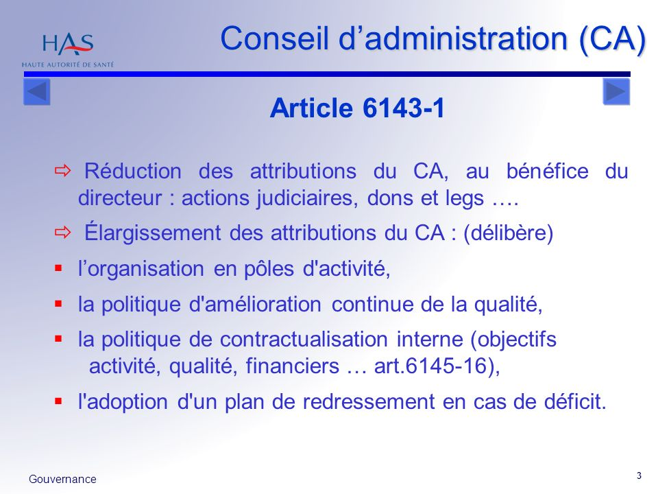 Conseil d'administration (CA)