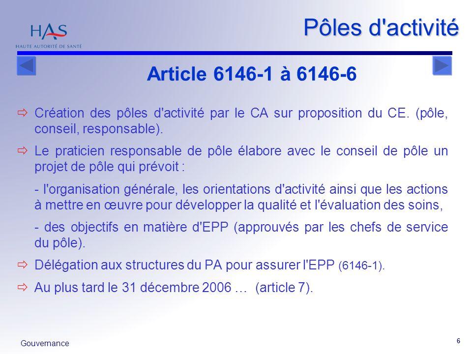 Pôles d activité Article 6146-1 à 6146-6