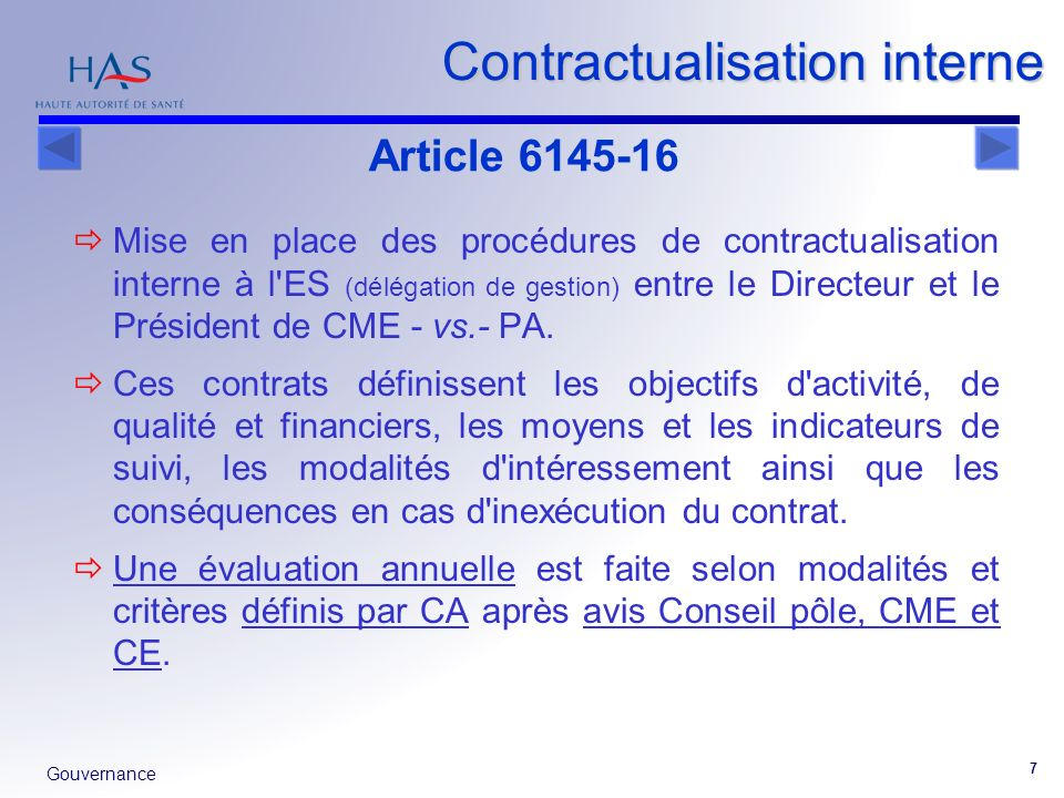Contractualisation interne