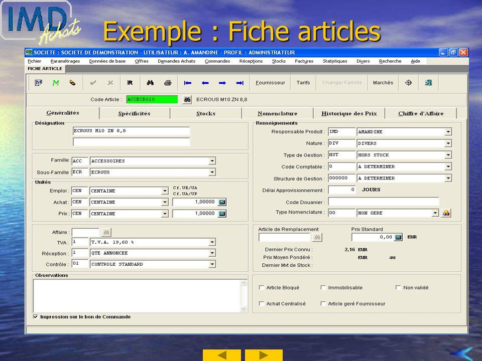 Exemple : Fiche articles