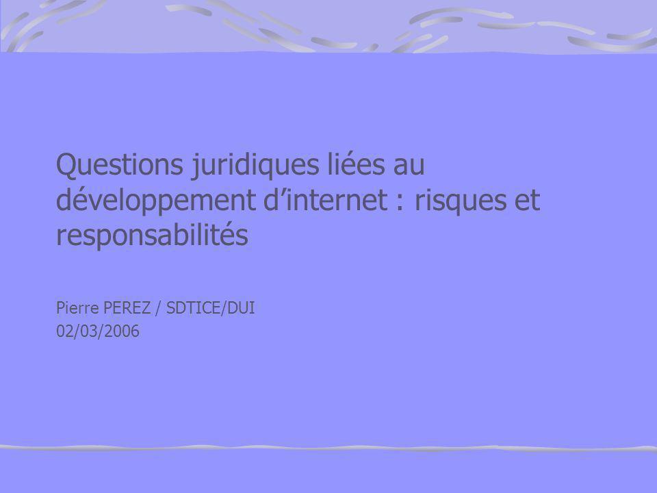 Questions juridiques liées au développement d'internet : risques et responsabilités