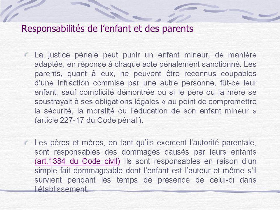 Responsabilités de l'enfant et des parents