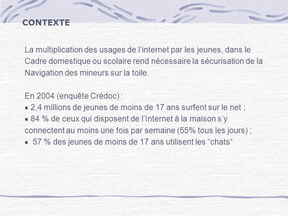 CONTEXTE La multiplication des usages de l'internet par les jeunes, dans le. Cadre domestique ou scolaire rend nécessaire la sécurisation de la.