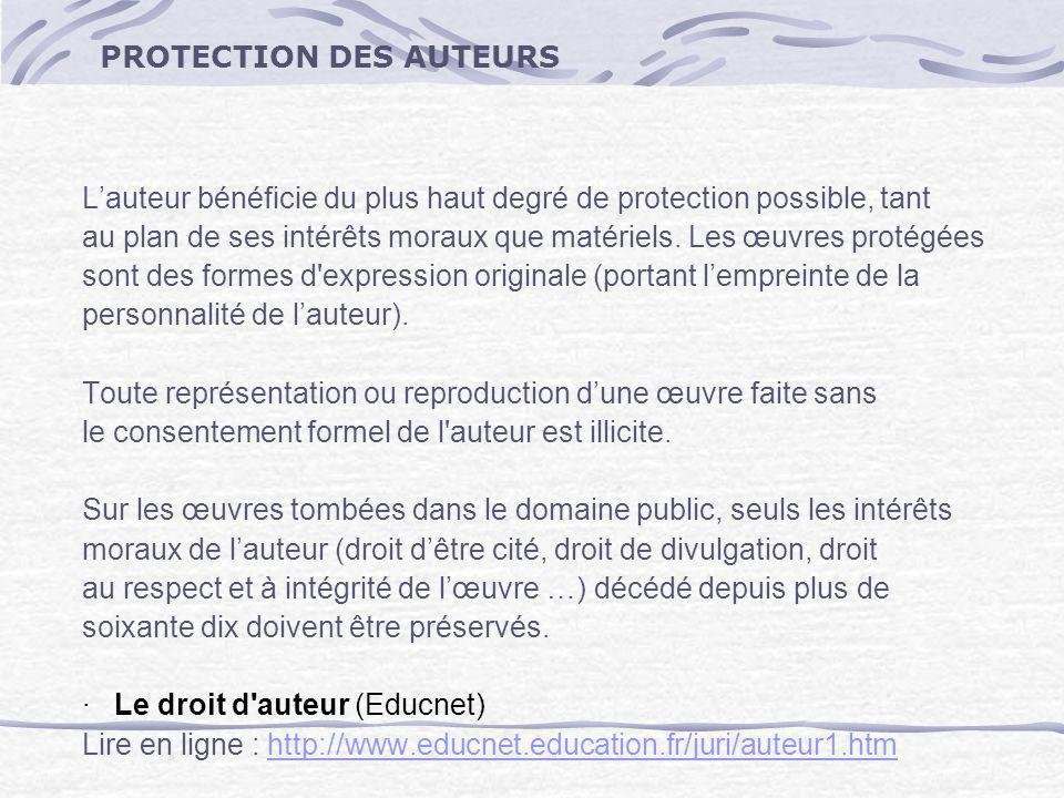 PROTECTION DES AUTEURS